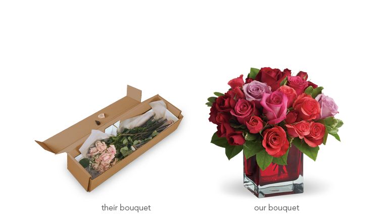 Flowers in a box vs. in a vase