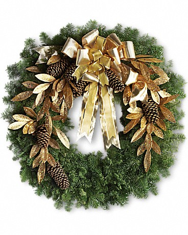 Shop Teleflora's Glitter and Gold Wreath