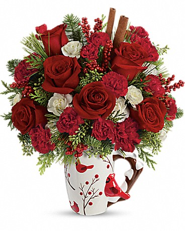 Shop Send a Hug Christmas Cardinal bouquet by Teleflora
