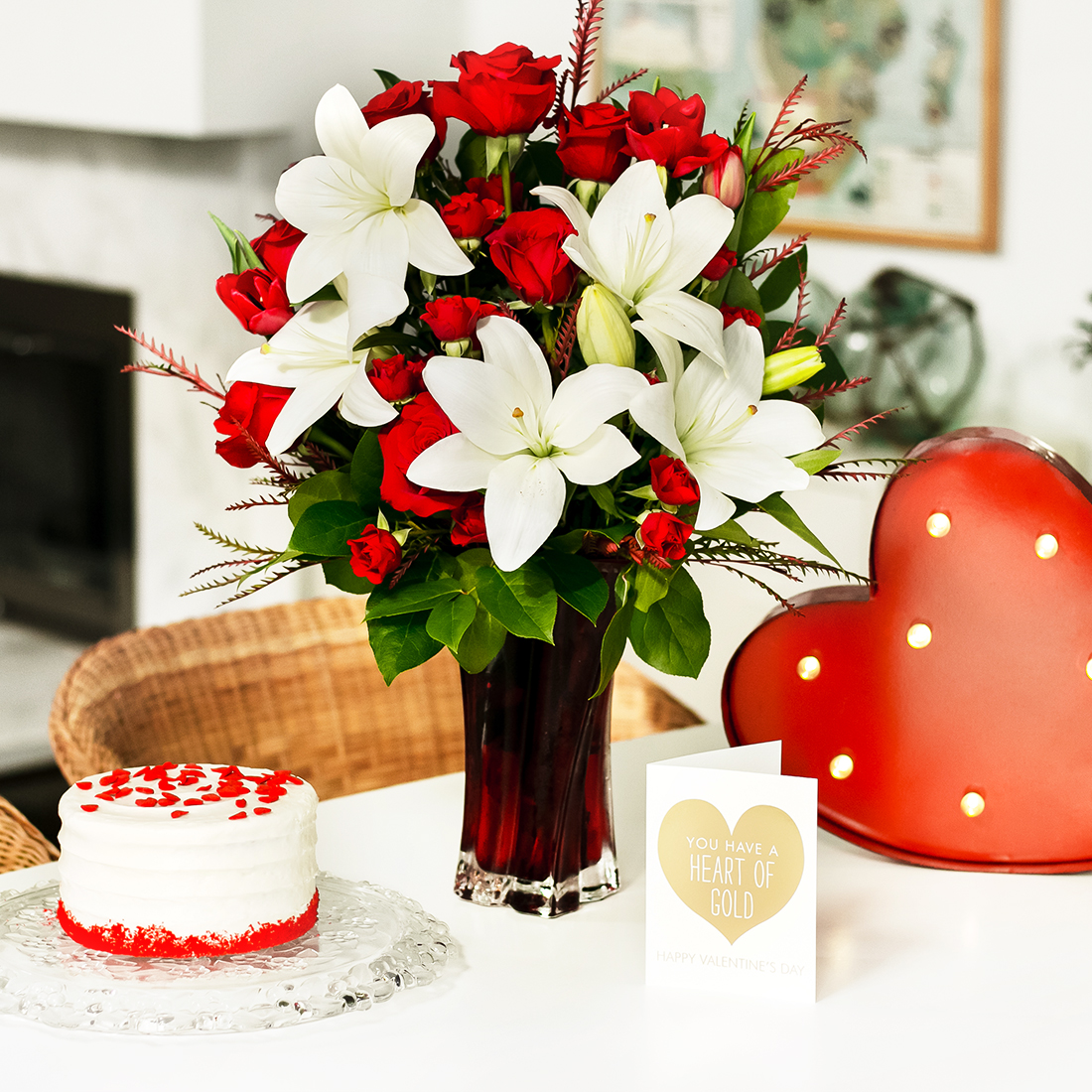 Valentines day gifts for him teleflora blog white lilies and red roses bouquet in red vase izmirmasajfo