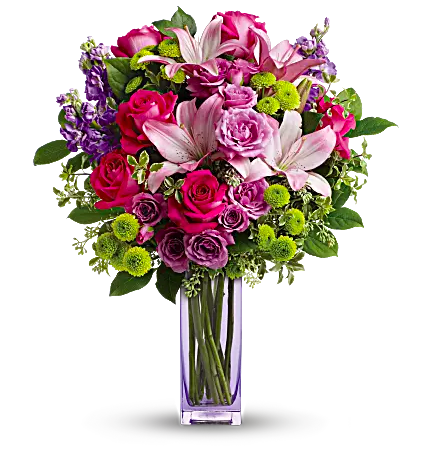 pink, green, and purple flowers in purple vase