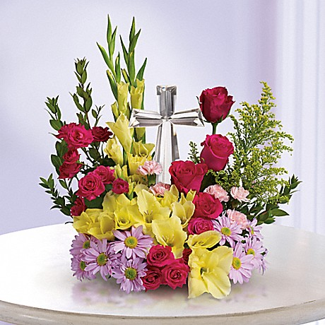 flowers with crystal cross