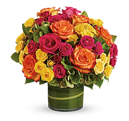 red, orange, and yellow roses bouquet