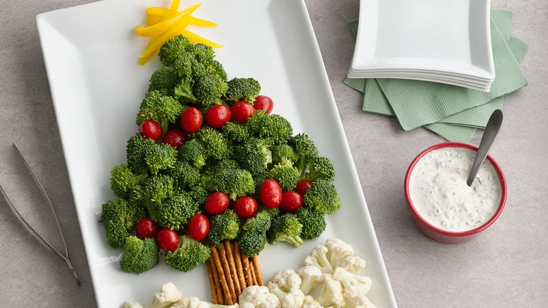 broccoli and veggies in tree shape