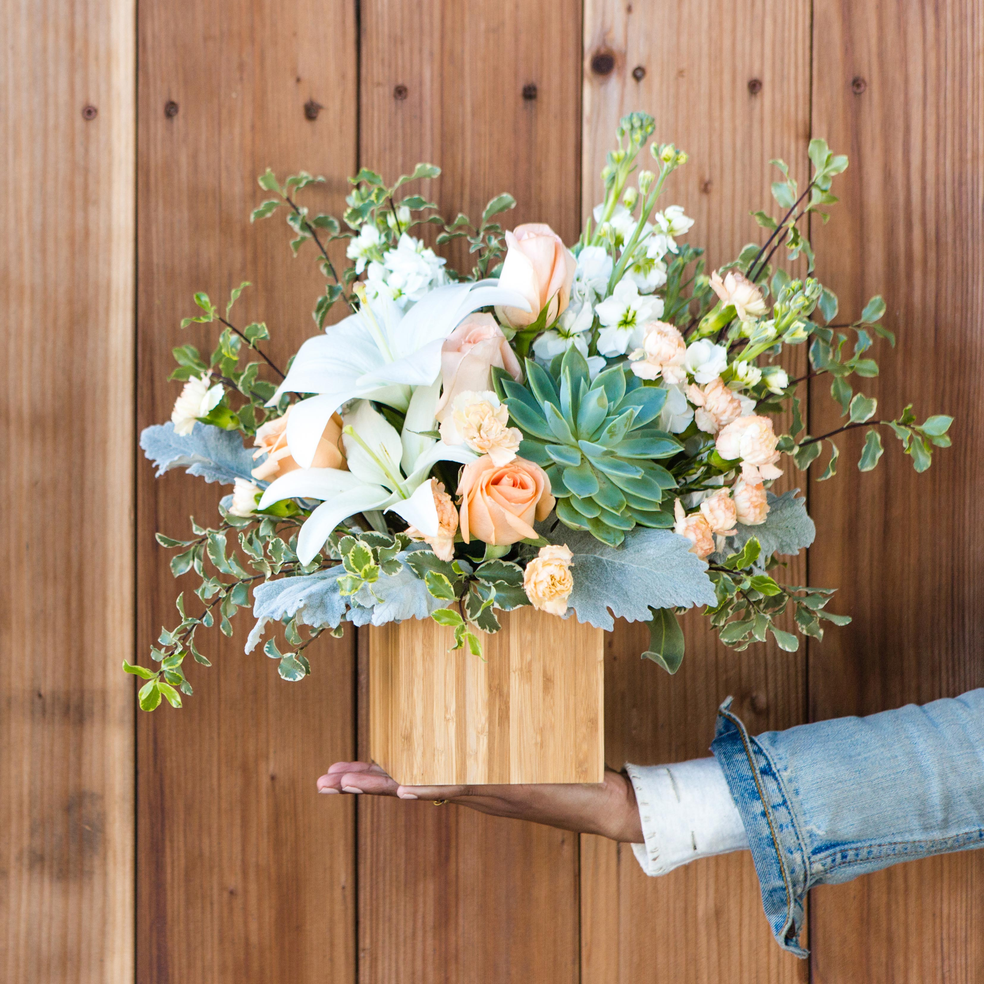 Teleflora inspirations for summer wedding bouquets you can also use this bouquet as wedding decor each collective arrangement comes encased in a beautiful natural bamboo cube bringing the theme together izmirmasajfo