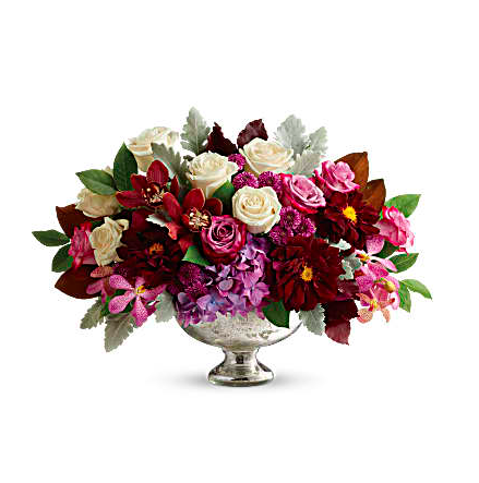 White and purple roses, burgundy dahlias, and more in a mercury glass bowl thanksgiving centerpiece