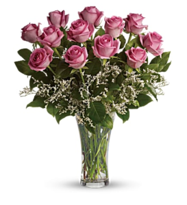 Pink roses in a clear vase