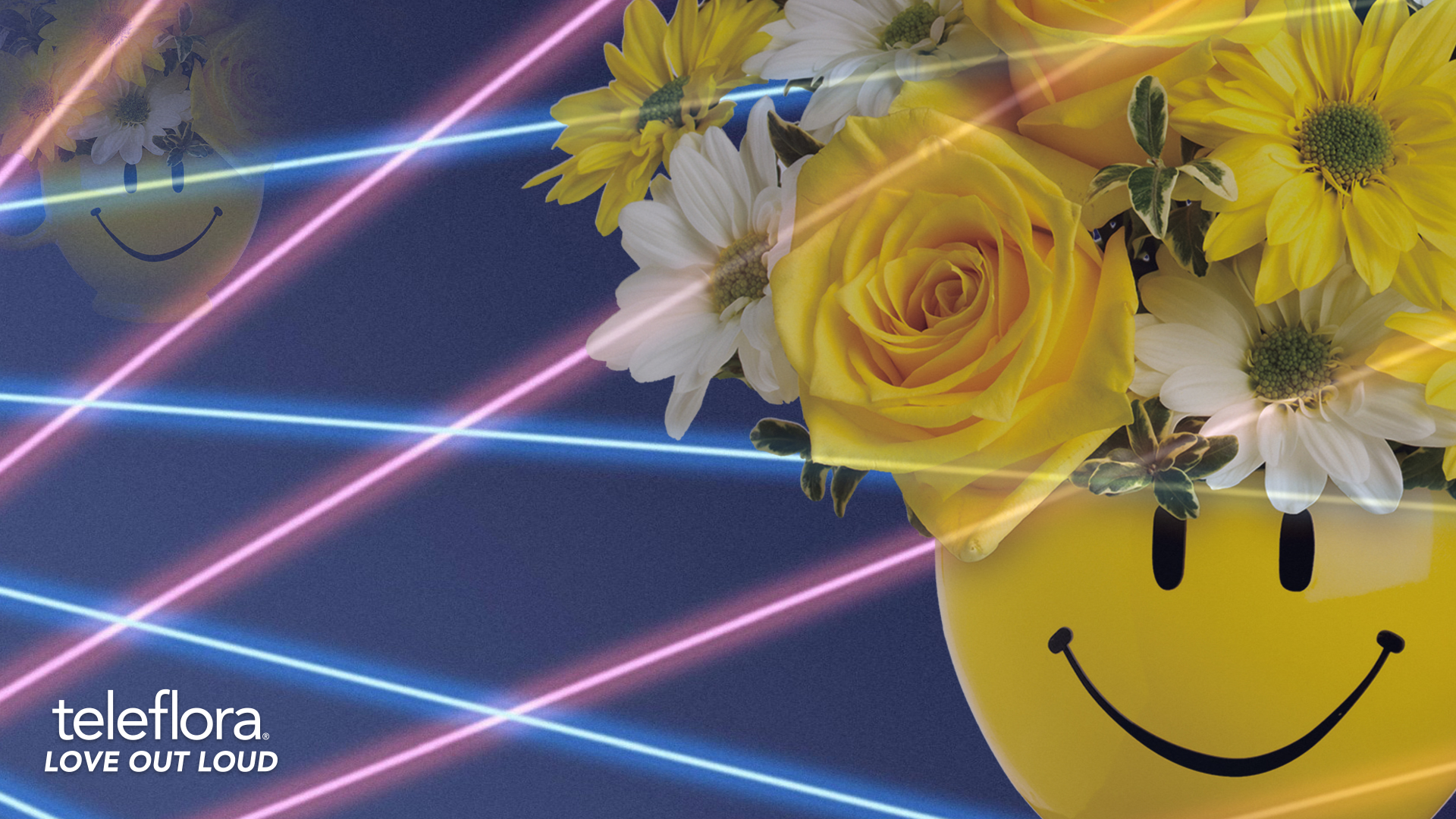 lasers and yellow mug with yellow and white roses background