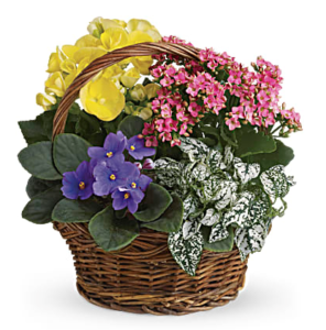 Pink, yellow, and purple flowers fill a wicker basket